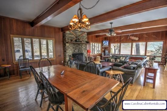 Great Room - Spacious and Comfortable, Walls of Windows - Colonel Weber`s Lodge - Blowing Rock - rentals