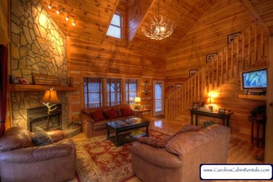 Willow Valley View Spacious Living Room With Stone Firplace and Gas Logs - Willow Valley View - Boone - rentals