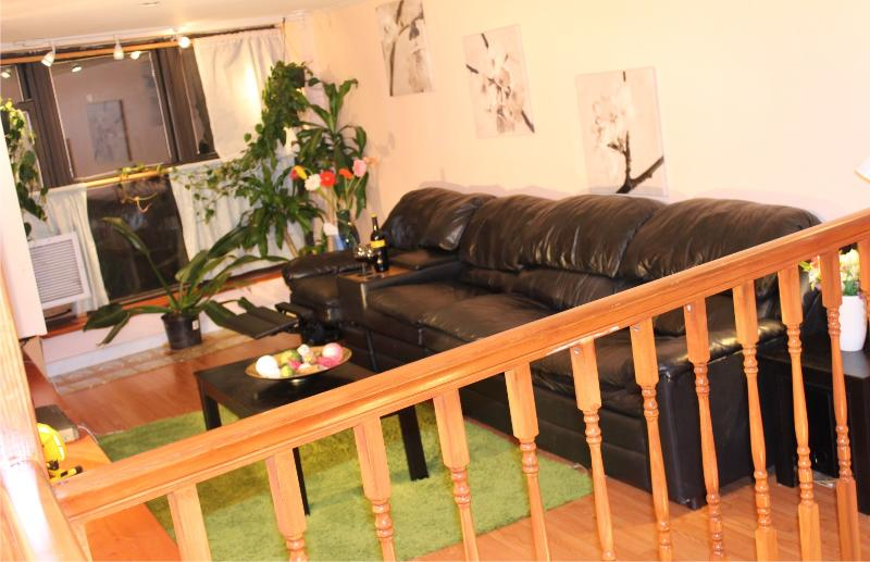 Large & Confortable Leather sofa & recliner Huge LED TV Cable and all the ammenities - 1A Duplex Condo NYC VacationRental Carroll Gardens - Brooklyn - rentals