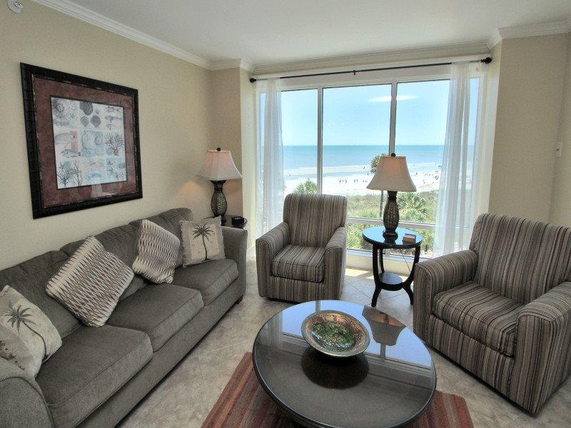 Living Room with Ocean Front Views at 1401 Villamare - 1401 Villamare - Palmetto Dunes - rentals
