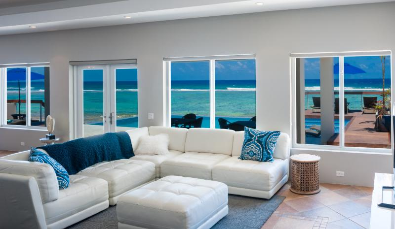 Amazing views from the Living Room - Luxury Beachfront Villa w/ Pool/Spa Present Moment - Bodden Town - rentals
