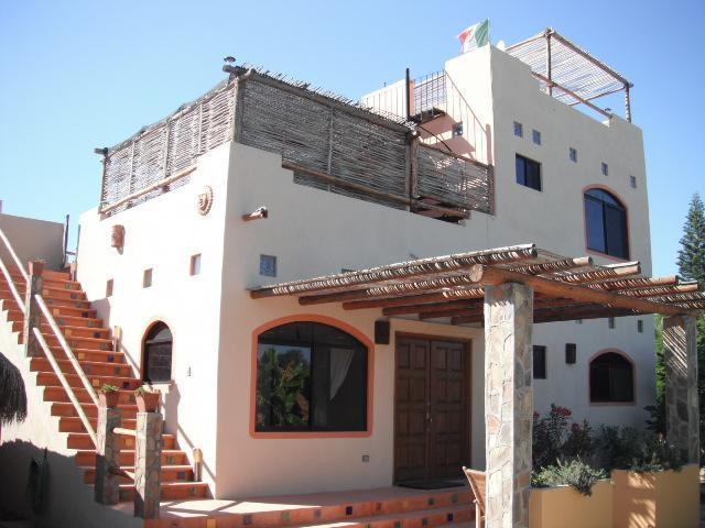 Front view of house and staircase to 2nd floor casita - Iguana de los Mangos - Todos Santos - rentals