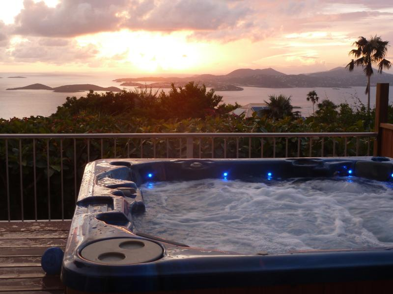 Gorgeous ocean views & sunset from your spa - Plumeria: Great Ocean Views, Sunsets, Heated Pool, - Saint John - rentals