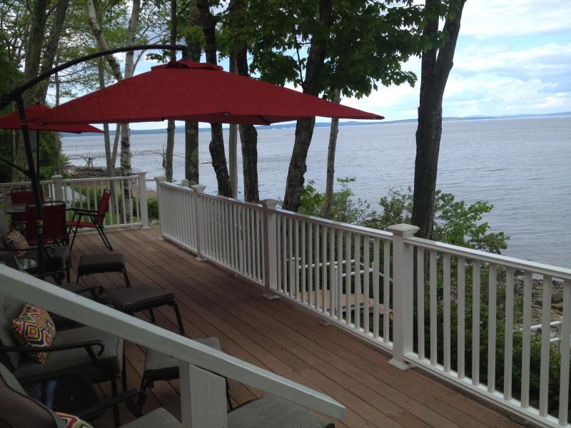 Upper Deck overlooking the bay - OCEAN COTTAGE -WATERFRONT PROPERTY WITH 2 DECKS - Northport - rentals