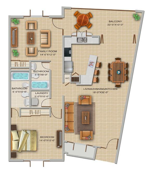 Floor Plan - Las Vistas de Rio Mar 2A Bedrooms; Up to 40% Off! - Rio Grande - rentals