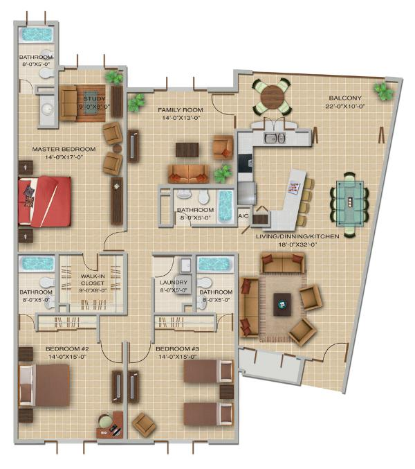 Three Bedroom Floor Plan - Las Vistas de Rio Mar, 3 Bedrooms; Up to 40% Off! - Rio Grande - rentals