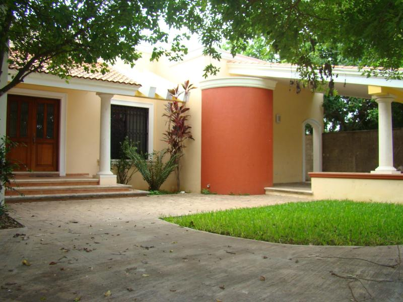 Front of house from garden, carport to R - Comfortable House in San Pedro - Merida - rentals