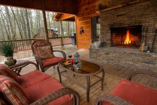 Outdoor fireplace on the porch - Jack Bears Cabin In The Woods - Blue Ridge - rentals