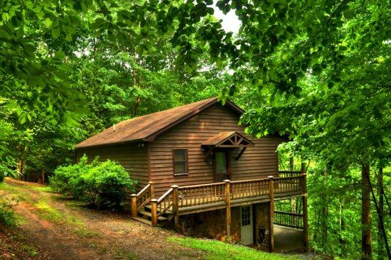 FRONT OF THE CABIN - A HEAVENLY VIEW- 3BR/2BA- SECLUDED CABIN WITH BEAUTIFUL MOUNTAIN VIEWS, HOT TUB, GAS GRILL, SATELLITE TV, WOOD BURNING FIREPLACE, GAME ROOM WITH AIR HOCKEY AND FOOSBALL! ONLY $115 A NIGHT! - Blue Ridge - rentals