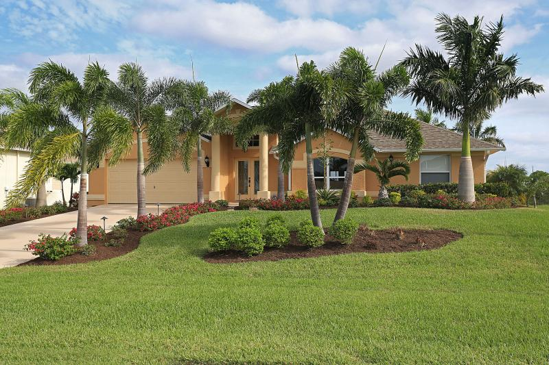 Front of house - Practically New Gulf Access Pool Home in NW Cape - Cape Coral - rentals