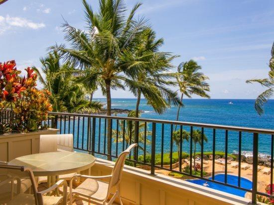 lanai - Free car* with WC230-exquisite ocean front 2bd/2.5bth with stunning ocean views-heated pool, hot tub - Koloa - rentals