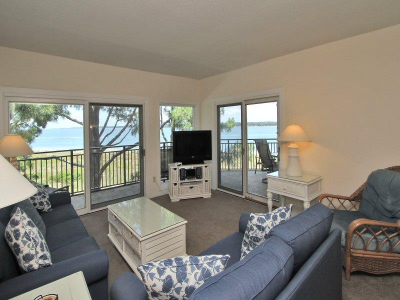 Living Room with Views of the Calibogue Sound from 1879 Beachside Tennis - 1879 Beachside Tennis - Sea Pines - rentals