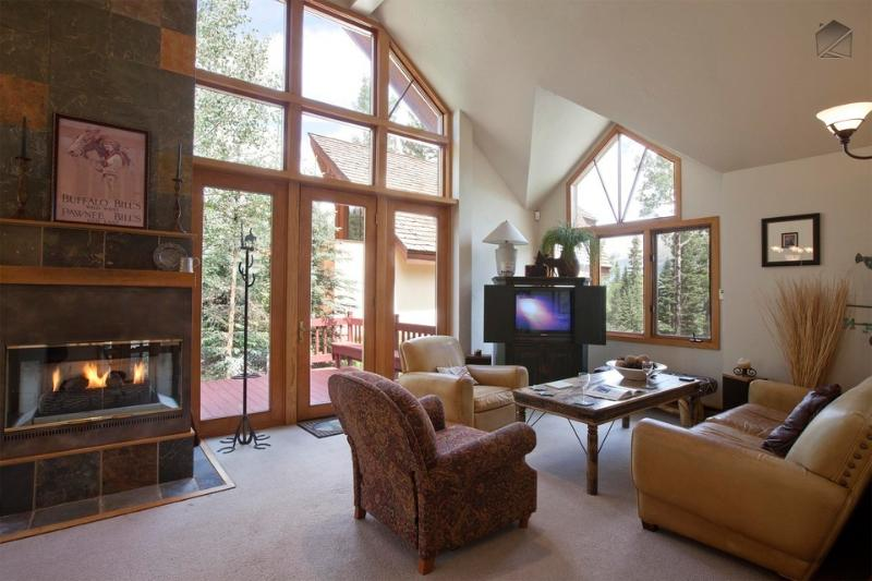 An abundance of natural light flows into this spacious living room. - A private winter paradise - Ski in/out, private hot tub - High Pine Lodge at Winterleaf - Mountain Village - rentals