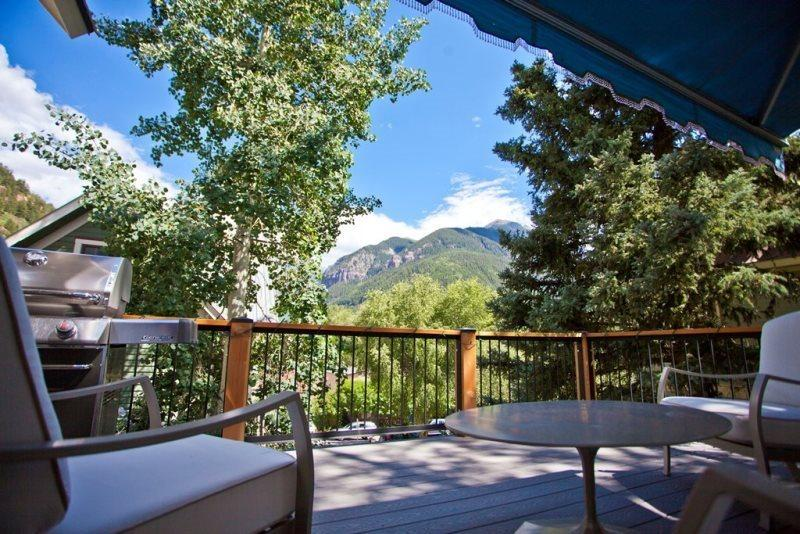 Furnished Deck   - Weber Gas BBQ   Deck furniture set, 1 Sofa, 2 chairs - seats 5 comfortably with large center table. - This downtown Telluride home has a huge deck, big views and modern amenities. - Telluride - rentals