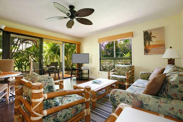 Living Area Looking Out On Lanai - NEWLY RENOVATED! Convenient, Ground Floor Location - Lihue - rentals