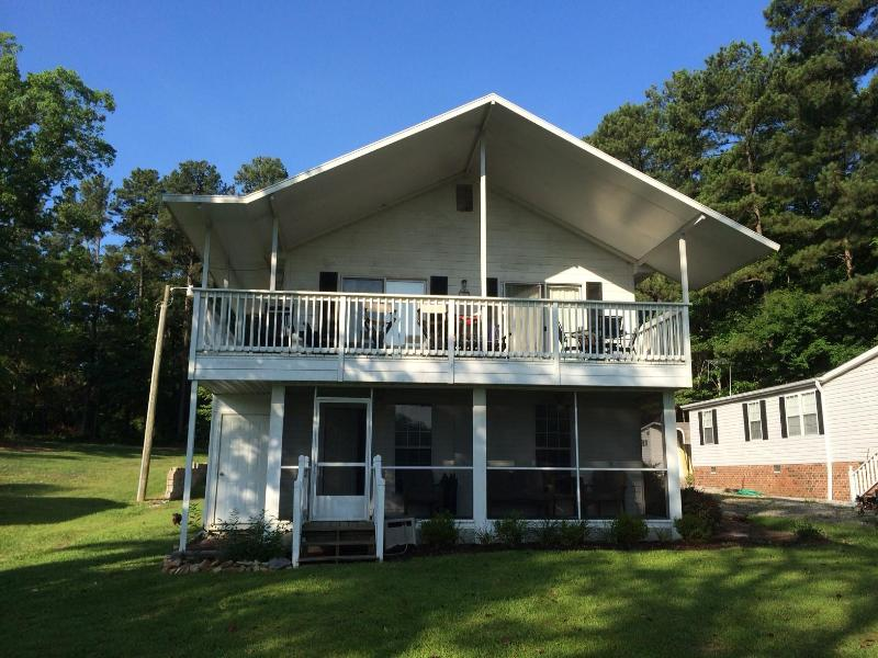 View of house from the lake in Summer - 3 bedroom lake house on quiet part of Lake Murray - Prosperity - rentals