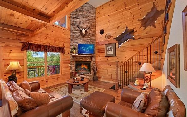 Living Room with Stone Stacked Gas Fireplace, 52' HDTV/DVD - Gorgeous! Luxurious Cabin 3/3 With Mountain Views - Pigeon Forge - rentals