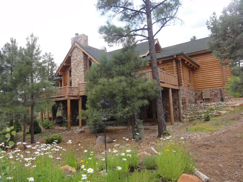 3 story Log Home View from driveway - Unique, Gorgeous, Large, Million dollar Log Home in Torreon AZ White Mountains - Show Low - rentals