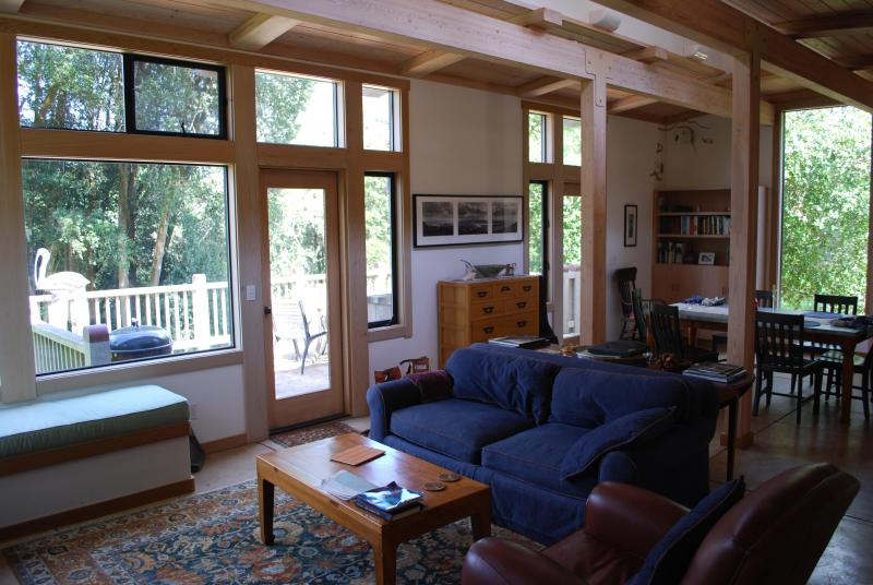 Large Open Floor Plan - Living/Dining/Kitchen/Deck - Perfect for hanging out together! - FoxGlove Retreat - Modern Home in the Forest - Point Reyes Station - rentals
