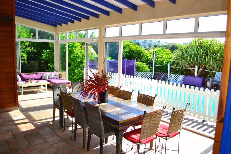 large veranda and pool - Villa Nonza, 5 bedrooms, pool, spa, orient B beach - Orient Bay - rentals