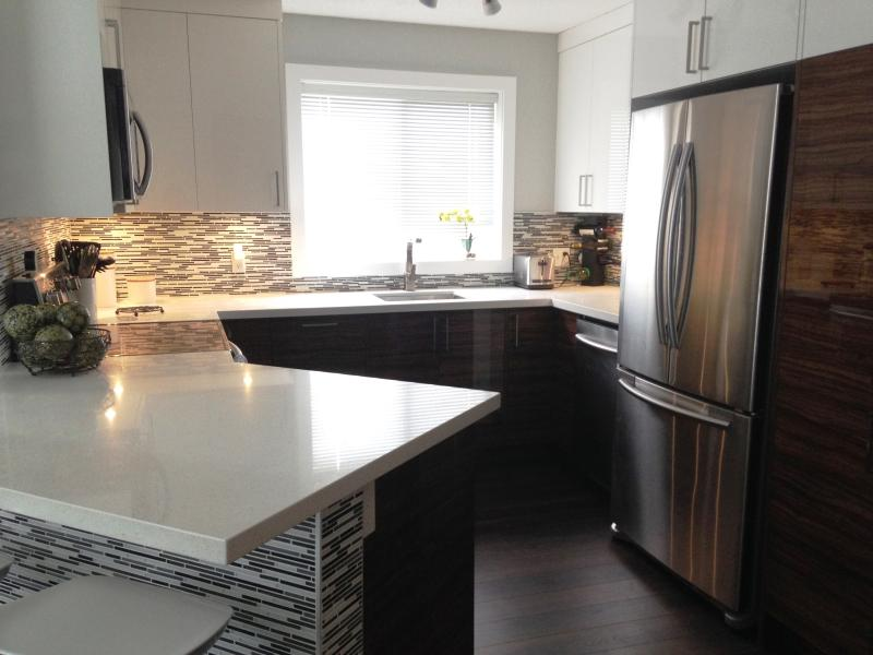 Luxury kitchen w/ quartz countertops & stainless appliances. Eatingbar w/ 2 stools for quick meals - *NEW* NW Calgary Executive Modern Apartment - Calgary - rentals