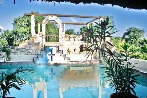 common pool area with sundeck and hammocks - Historic house in the center of Yucatan - Izamal - rentals
