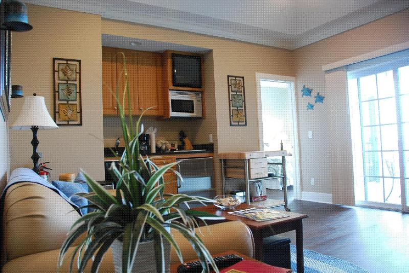 main room, kitchenette, pull out couch - Waterfront Condo C204 at The Cliffside Resort - Greenport - rentals