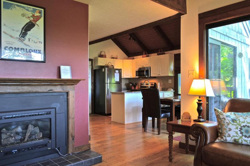 Living room with fireplace and view into kitchen - Cozy Home with Beautiful Views, Ski in/Out! - Wintergreen - rentals