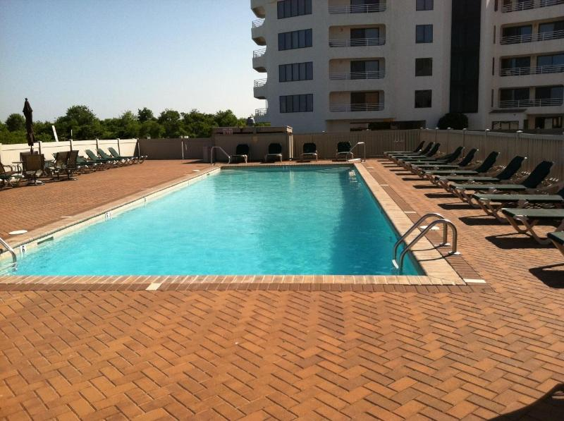 Pool:  Building in back is not our complex - IMMACULATE and SUNNY CONDO with OCEAN VIEWS and PO - Brigantine - rentals