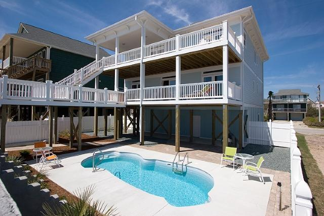 From the beach - S. Shore Drive 1614 Oceanfront! | Private Pool, Hot Tub, Elevator, Jacuzzi, Internet, Fireplace - Surf City - rentals