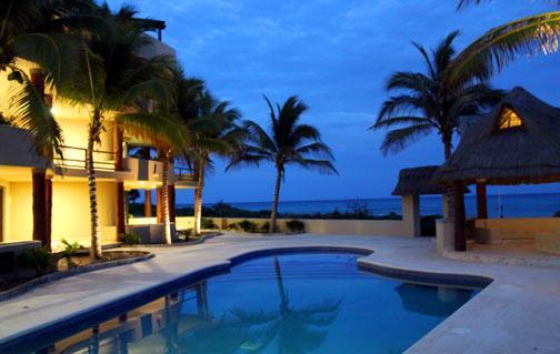 Costa Maya Villas at dusk - Costa Maya Villas Luxury Condo Pool Level #201 - Majahual - rentals