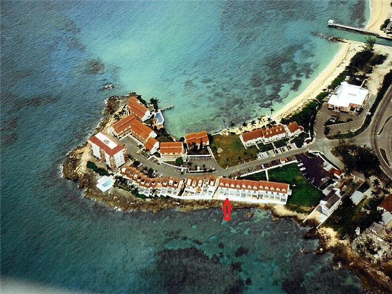 Tranquility is indicated at the red arrow, oceanfront with fabulous sunset views. - OCEANFRONT, FABULOUS SUNSET VIEWS, PRIVATE BEACH - Nassau - rentals