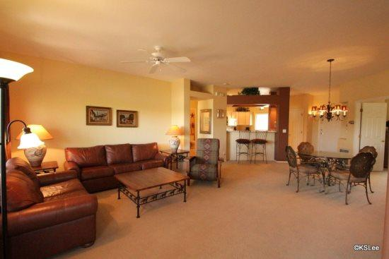 Spacious living room open to dining and the kitchen - Great Summer Fun! Three Bedroom, Upstairs Condo at Vistoso Casitas, in Building 15, with Pool Views - Oro Valley - rentals