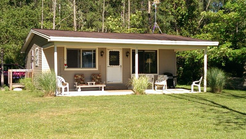 Lakefront View of Cottage - Lakeside Cottage with Private dock on 2.5 acres - Allegan - rentals