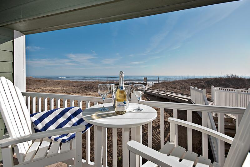 Oceanfront balcony terrace - Oceanfront 1BRCondo Premier Resort KDH Pool, Spa + - Kill Devil Hills - rentals