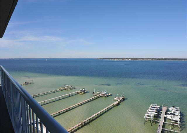 balcony view - Gorgeous views- Tristan Towers 3 bdrm w/wraparound balcony - Pensacola Beach - rentals