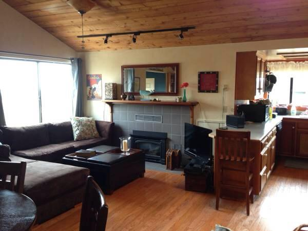 Living area with gas FP and flatscreen - Romantic Cambria Cottage with ocean view - Cambria - rentals
