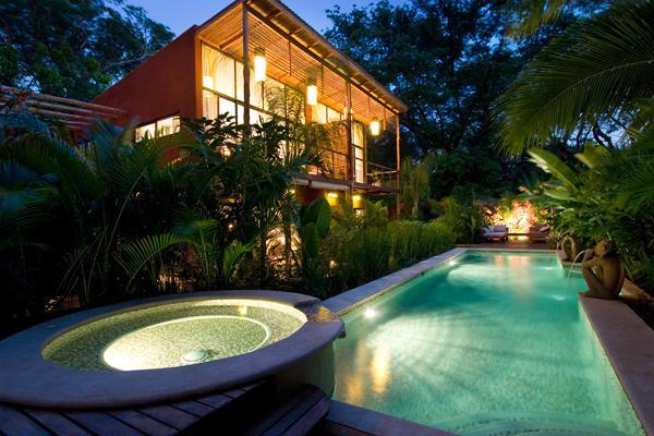 Dusk over looking the Spa & Pool - Monkeys &  Parrots  Lush Tropical Paradise   Video - Playa Flamingo - rentals