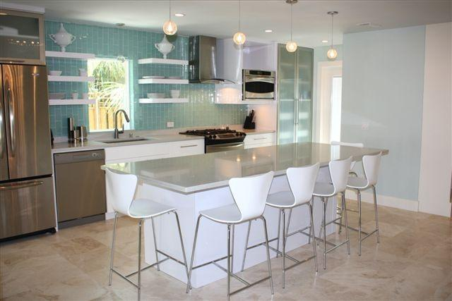 New Kitchen with Center Island Table - Luxury beach house near historic Don CeSar resort - Saint Pete Beach - rentals