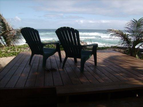 wooden deck with ocean view - Beautiful, beachfront apartment on Jobos Beach - Isabela - rentals