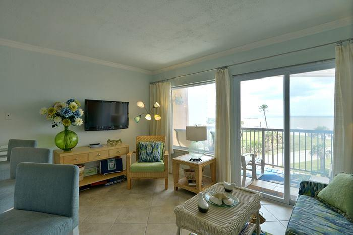 Living Room with flat screen tv and view of gulf - BadaBeach!  Award winning Gulf Front Condo -Specta - Galveston - rentals