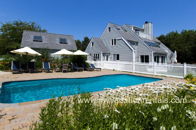 Pool, Patio and House - CHURS - Luxury Katama Home, Heated Pool, Large Patio Area, Private Yard - Edgartown - rentals