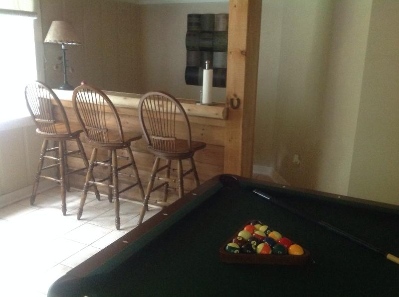 "Game room with bar - ""The Pinecone""....Charming cottage with pool table - Maggie Valley - rentals"