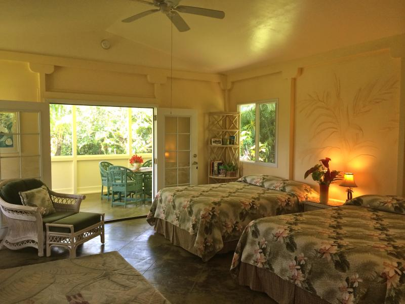 The spacious studio looking out to the sun drenched lanai - Palms Cottage, Slice of Paradise - Pahoa - rentals