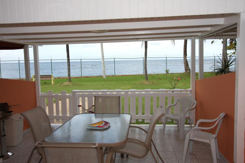 North terrace overlooking Atlantic Ocean...perfect for BBQ/sharing meals w/view! - Beachfront vacation rental villa...plain idyllic! - Dorado - rentals