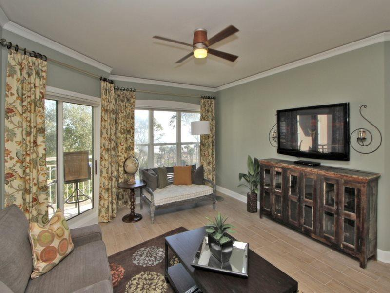 Living Room with Deck Access at 6403 Hampton Place - 6403 Hampton Place - Palmetto Dunes - rentals