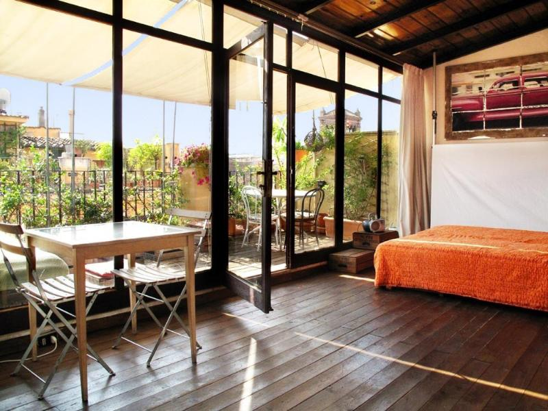 Studio area, with queen size bed (or twin beds) - Artistic Loft Spectacular Terrace historic center! - Rome - rentals