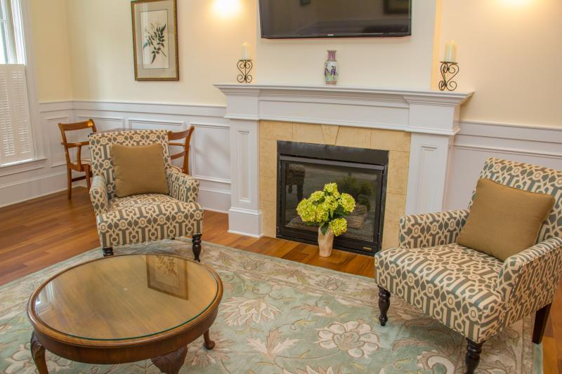 Living Room gas fireplace - JASMINE QUARTERS ON WASHINGTON SQUARE - UNIT B - Savannah - rentals