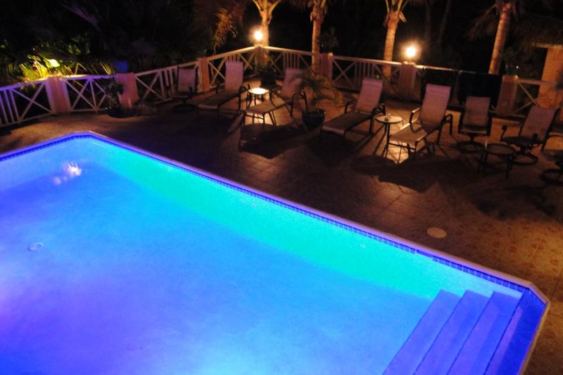 Chromatic pool and deck at night - Near beach, Luxury Villa,  Chromatic Private Pool - Providenciales - rentals