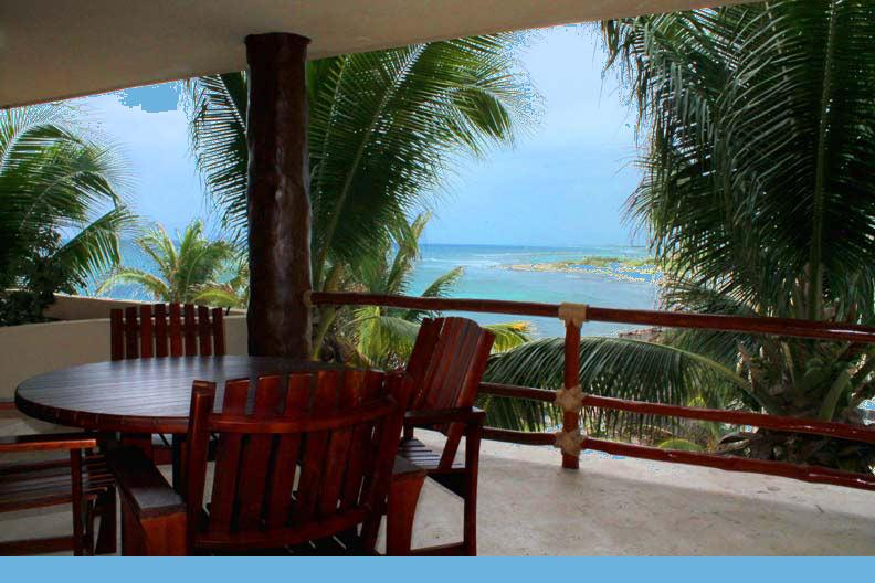 Located at the tops of the palm trees, you have privacy plus view. This is the most private unit. - Beautiful Private Condo w/view & huge terrace #403 - Majahual - rentals